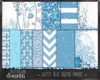 Digital paper - - Digital Scrapbook paper pack - Instant download - 12 Digital Papers - Blue Glitter