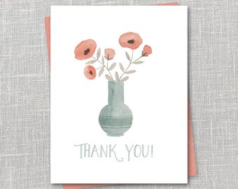 Poppy Bouquet Thank You Notecard Instant Download PDF
