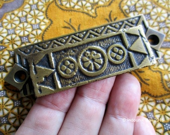 Batik Pattern 97mm Brass Drawer Handle or Pull