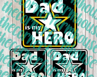 Army Dad Hero Cut File Clip Art Military Father's Day Gift Silhouette Cricut