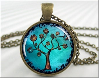 Tree Of Life Necklace, Resin Pendant, Tree Of Life Jewelry, Turquoise Tree Art, Gift Under 20, Round Bronze 324RB