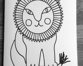Coloring cards for kids-Lion