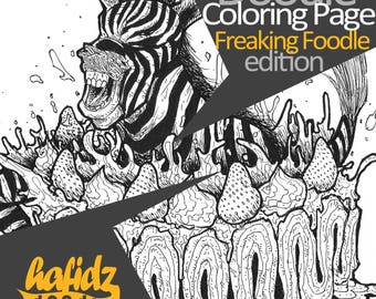 Zebra + Strawberry Cake ; Doodle Coloring Page