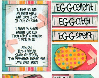 Easter Eggs Titles Tags Borders Bo Bunny  Cardstock Scrapbook Stickers Embellishments Card Making