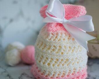 Gift bag, knit gift bag, small knit gift bag, small pink gift bag