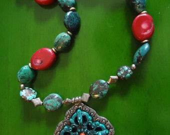 Boho Turquoise Cross and Red Coral Pendant Necklace