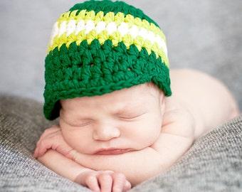 Baby Boy Hat 0 to 3 Month Emerald Green Baby Hat Baby Boy Cap Baby Boy Clothes Lime Green White Visor Beanie Visor Hat Photo Prop Baby Gift