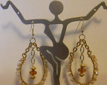 Swarovski Amber Hoop Earrings Handcrafted Wire Wrapped Crystal Earrings-Women November Birthstone Jewelry-Gold Filled Wire Dangle Earrings