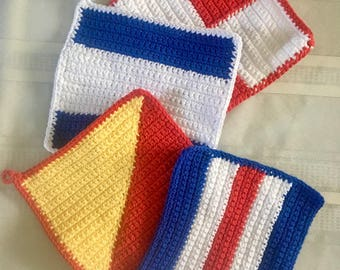 Nautical Signal Flag Cotton Dishcloth/Potholder