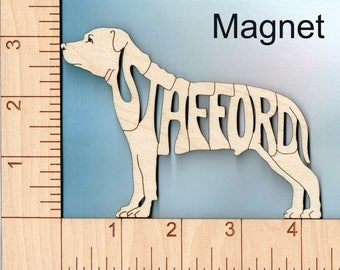 """Staffordshire Bull Terrier """"Stafford"""" Dog laser cut and engraved wood Magnet"""