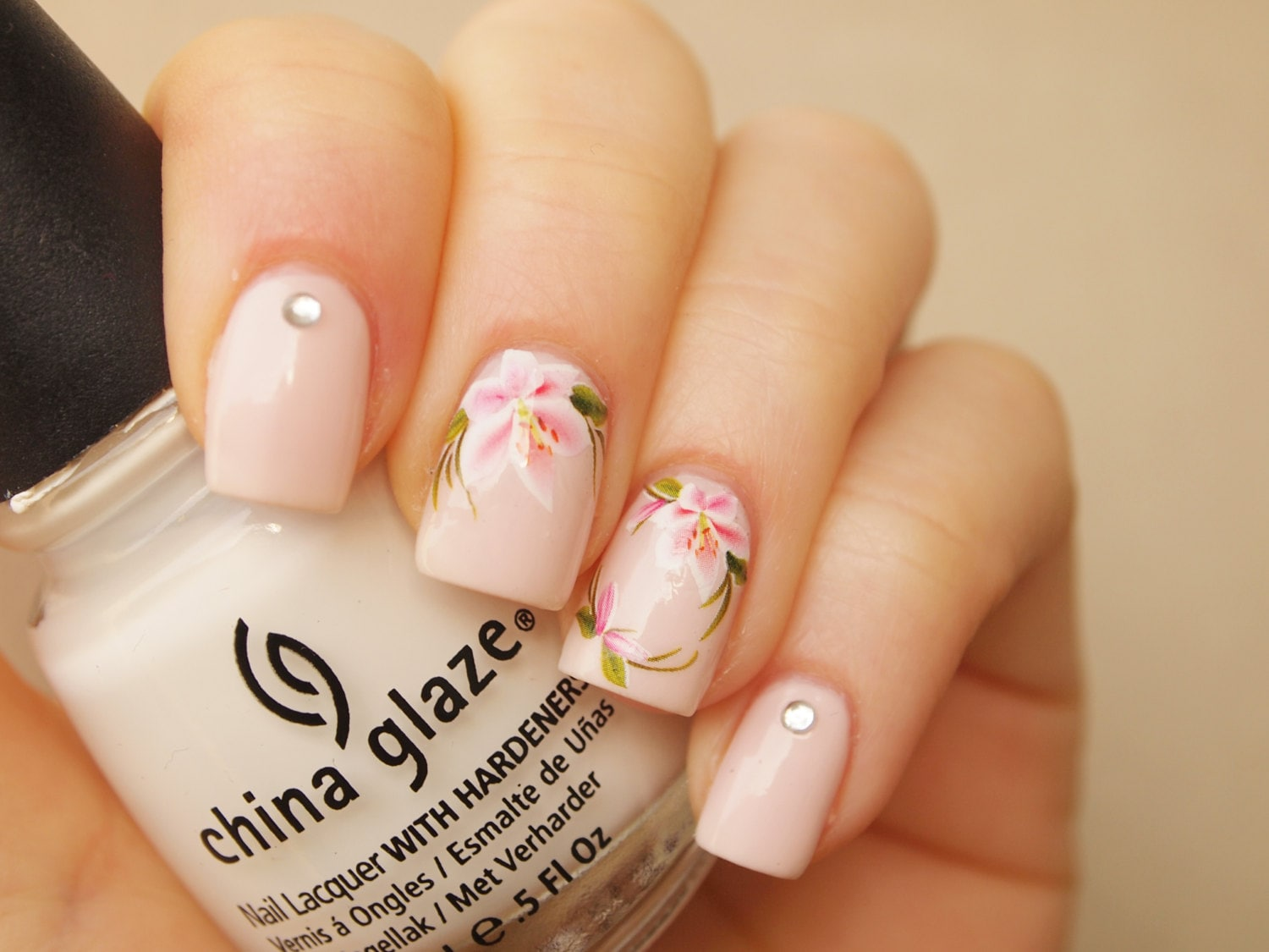 White pink lily nail art water decals/ 20pcs floral nail art