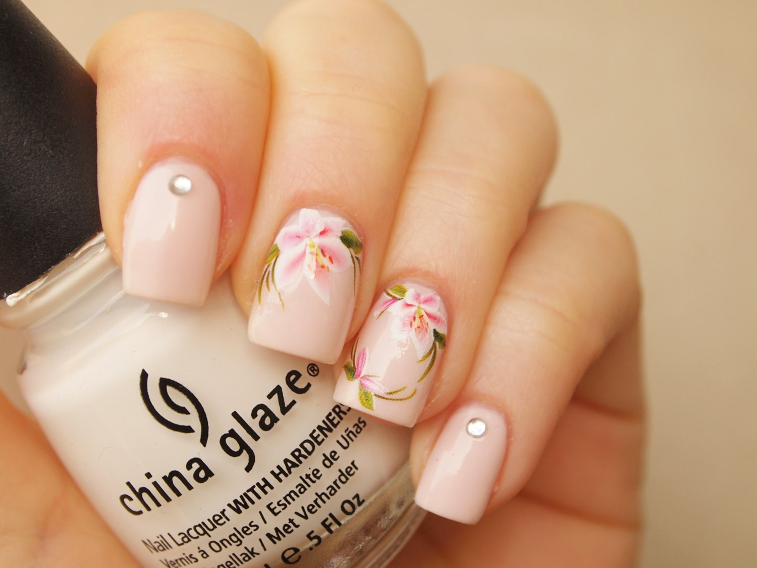 White pink lily nail art water decals/ 20pcs floral nail art decals ...