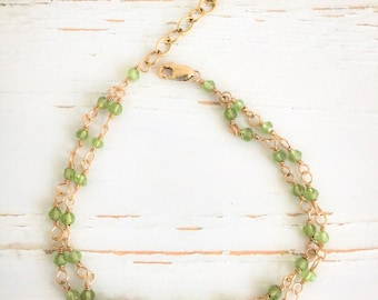 Peridot wire-wrapped bracelet