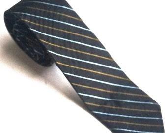 "Vintage Skinny Black Striped  Silk Tie, 56"" x 2"" Narrow VAN HEUSEN Necktie, Trending Retro Hipster Fashions"