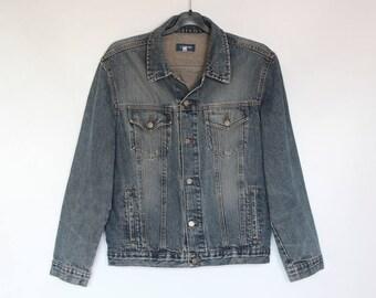 90s • Vintage • Men's Jacket • Blue Denim Jacket • Men's Blazer • Men's Blue Blazer • Blue Men's Denim Jacket • Vintage Men's Blue Jacket