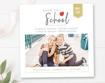 Back to School Mini Session Template, Photographer Templates, 5x5 Marketing Board, INSTANT DOWNLOAD!
