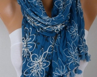 ON SALE - Teal Embroidered Floral Cotton Scarf,Summer Scarf, Birthday Gift,Bohemian Shawl Cowl Gift For Her Women's Fashion Accessories