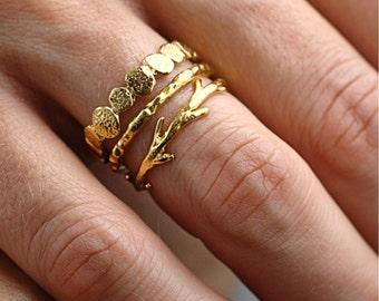 14k Gold Pebble Raw Twig Ring Set|  Stacking Rings Set| 14k Gold Rings