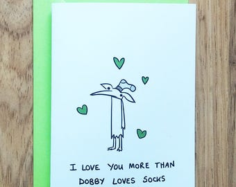 Dobby socks card