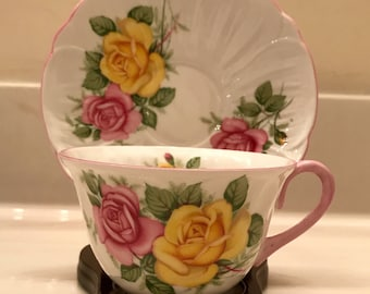 Shelley Cup And Saucer Set With Yellow and Pink Roses Fine English Bone China Teacup & Saucer