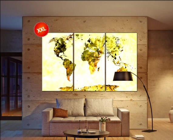 Yellow Grunge world map  print on canvas wall art Yellow Grunge world map print art artwork large world map Print home office decoration