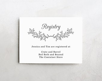 Wedding Registry Card Wedding Info Card Download Registry