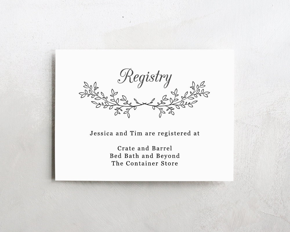 Wedding Registry List: Wedding Registry Template Wedding Registry Card Enclosure