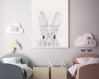 Bunny Nursery Art, Woodland Nursery, Kids Scandinavian Art Print, Art Print, Bunny Art , Animal Nursery Decor, Girls Nursery Art, Girl print
