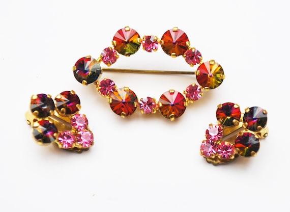 Pink Rivoli rhinestone Brooch earrings set - signed Austria - Pink yellow crystals - Gift for her