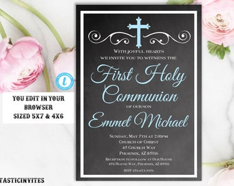 First Communion Invitation Template, Boy First Communion Invitation, First Communion Invitation, Editable, Printable, Instant Download