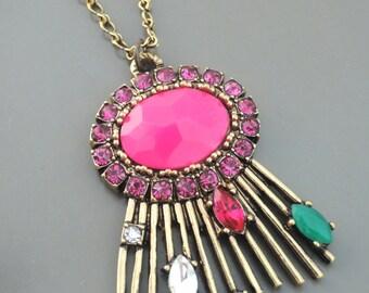 Boho Necklace - Gold Necklace - Colorful Necklace - Pink Necklace - Rhinestone Necklace - Layered Necklace - Pendant Necklace - Handmade