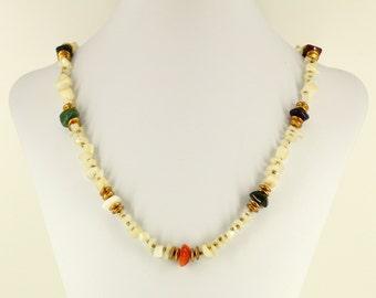 Fine Estate Jewelry - Signed Miriam Haskell Necklace - Vintage Haskell Jewelry, Semi Precious Gemstone Beads Agate Jasper Amethyst Moonstone
