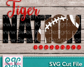 Tiger Nation with Knockout Football SVG JPG PNG {Scrapbook Die Cut Heat Transfer Vinyl Cut} Cricut svg Silhouette svg Sports svg Sweet Kate