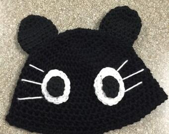 crochet black kitty hat