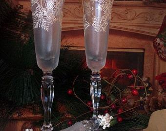 Set of 2 hand painted wedding champagne flutes Snowflake fantacy Christmas glasses Cake serving set