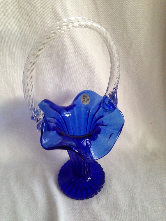 Vintage Fenton Blue Glass Basket Vase W Clear Glass Handle