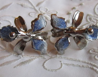 Vintage Silver Tone Light Blue Detailed Orchid Screw Back Earrings