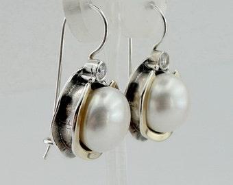 Great handcrafted Sterling Silverang gold 9K long Pearl Earrings, Pearl  Earrings, Round Pearl Earrings, Wedding Earrings ,gift (ms 958e)