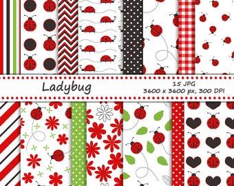 Ladybug digital paper pack - 15 printable jpeg papers, 3600x3600 px, 300 dpi - ladybug backgrounds, floral pattern and ladybug paper
