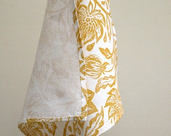 everyday yellow ochre tropical foliage botanical home decor hand block printed passionflower white linen dinner napkins hostess gift for her