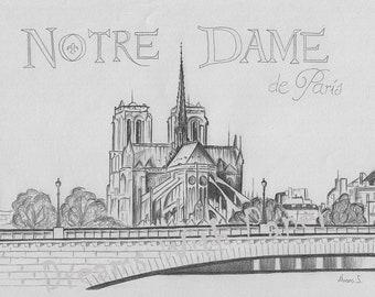 Drawing Notre Dame (music Notre Dame de Paris)