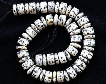 Full Strand Natural Dalmatian Jasper Polish Wheel/Abacus Beads