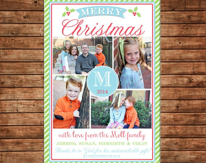 Christmas Holiday Photo Card Turquoise Coral Mint - Can Personalize - Printable File or Printed Cards