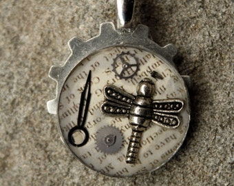 Steampunk Pendant with Dragonfly and Clock Parts