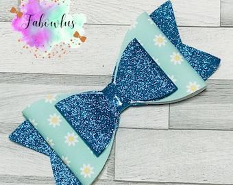 Blue Daisy and Glitter Bow