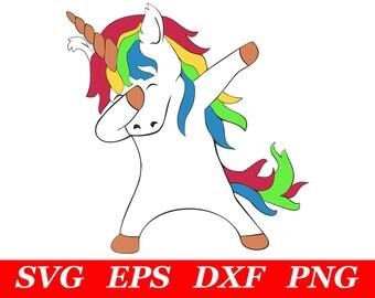 Dabbing Unicorn SVG Cricut Silhouette File Dab Unicorn Clipart Printable Iron On Cutting Cut File Cutout T Shirt DXF Vector Download