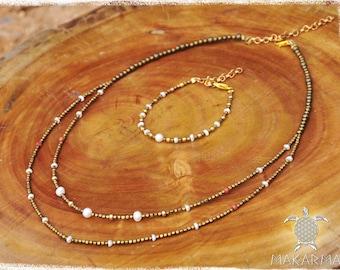BohoChic Necklace Brass Pearls Beaded Necklace Bohochic Jewelry