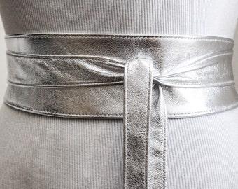 Silver Leather Obi Belt | Silver Belt | Bridesmaid Sash | Waist corset Belt | tie belt | Real Leather wrap Belt | plus size belts