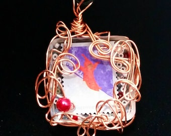 Snowy Day Stamp Wire Wrapped Pendant