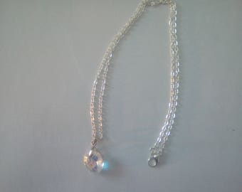 Silver necklace, swarovski crystal heart